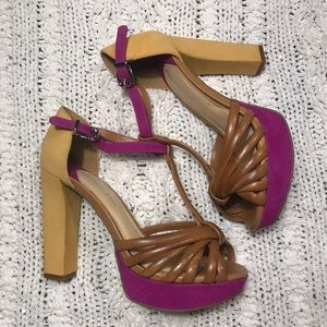 Gianni Bini Mustard Strappy Heels
